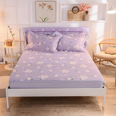 2020新款全棉单床笠 120cmx200cm 玛琪朵-紫