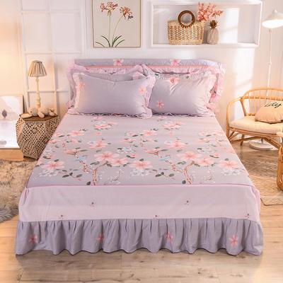 2020新款全棉单床裙 120cmx200cm 爱的圣殿-咖