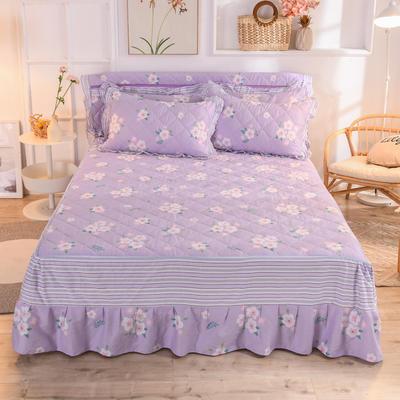 2020新款全棉夹棉床裙 120cmx200cm 玛琪朵-紫