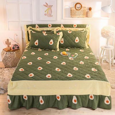 2020新款全棉夹棉床裙 120cmx200cm 牛油果-绿