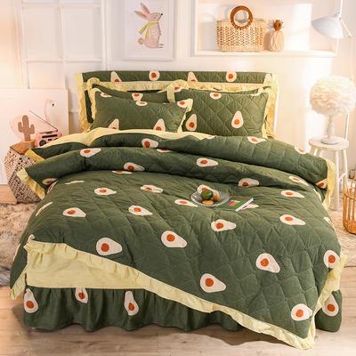 2020新款全棉全套夹棉四件套 1.2m床裙款四件套 牛油果-绿