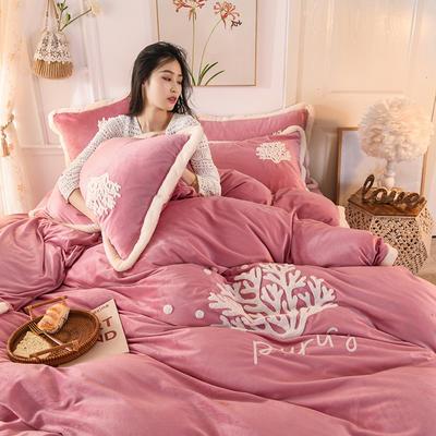 2019新款寶寶絨毛巾繡四件套 1.8m床單款四件套 溫馨-豆沙