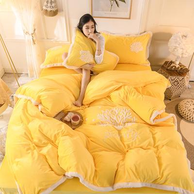 2019新款寶寶絨毛巾繡四件套 1.8m床單款四件套 溫馨-黃