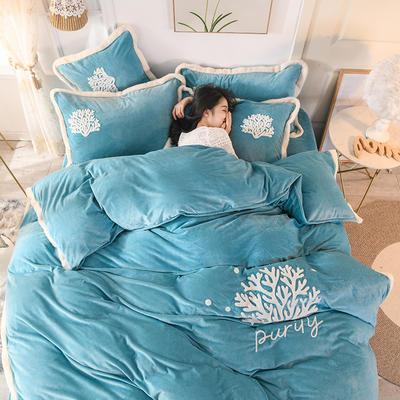 2019新款寶寶絨毛巾繡四件套 1.8m床單款四件套 溫馨-藍