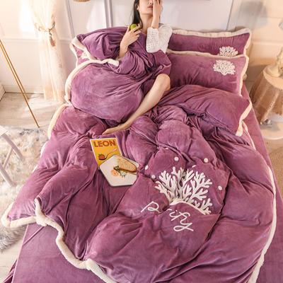 2019新款寶寶絨毛巾繡四件套 1.8m床單款四件套 溫馨-紫