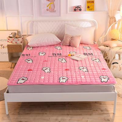 2019法萊絨防滑可水洗床褥 0.9*2.0米 豬寶寶-粉