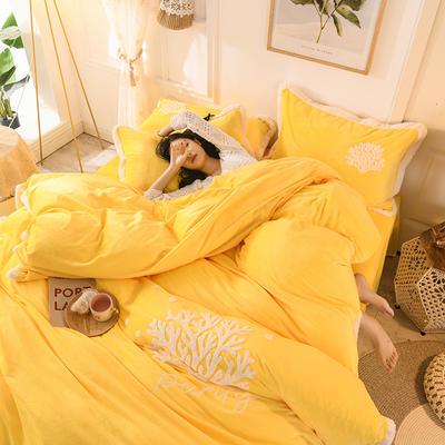 2019新款寶寶絨毛巾繡四件套 1.5m床單款四件套 溫馨-黃
