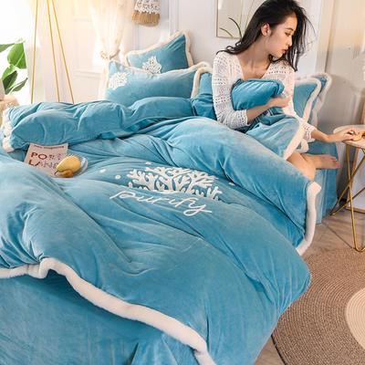2019新款寶寶絨毛巾繡四件套 1.5m床單款四件套 溫馨-藍