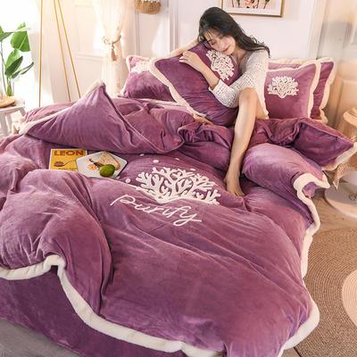 2019新款寶寶絨毛巾繡四件套 1.5m床單款四件套 溫馨-紫
