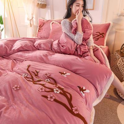 2019新款寶寶絨毛巾繡四件套 1.5m床單款四件套 臘梅-豆沙