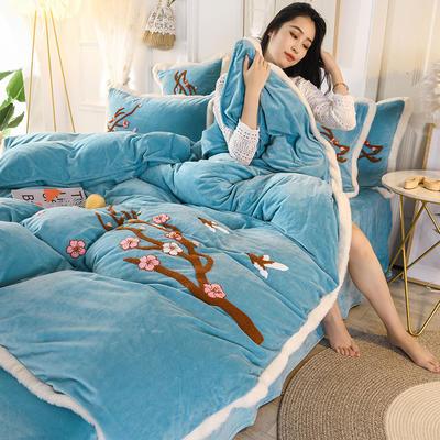 2019新款寶寶絨毛巾繡四件套 1.5m床單款四件套 臘梅-藍