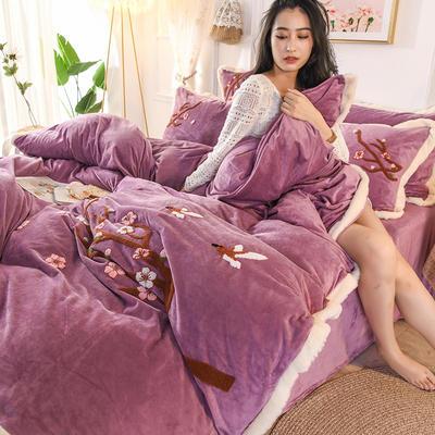 2019新款寶寶絨毛巾繡四件套 1.5m床單款四件套 臘梅-紫
