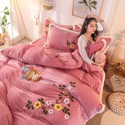 2019新款宝宝绒毛巾绣四件套 1.5m床单款四件套 爱情-豆沙