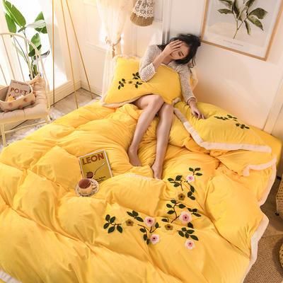 2019新款寶寶絨毛巾繡四件套 1.5m床單款四件套 愛情-黃