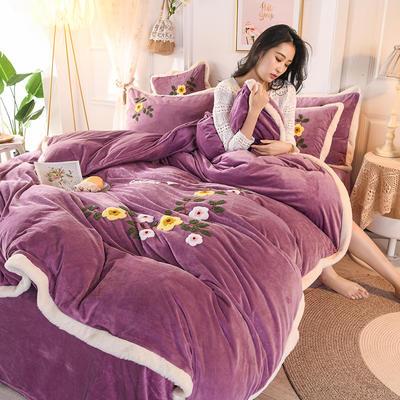 2019新款宝宝绒毛巾绣四件套 1.5m床单款四件套 爱情-紫