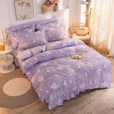 2020新款全棉單床笠四件套 1.2m床笠款四件套 瑪奇朵-紫