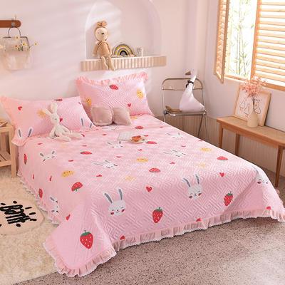 2020新款全棉夹棉床盖软席-花边床盖款 单件200*230cm花边床盖款 草莓兔-粉