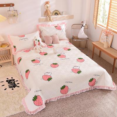 2020新款全棉夹棉床盖软席-花边床盖款 单件200*230cm花边床盖款 草莓兔-米