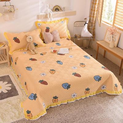 2020新款全棉夹棉床盖软席-花边床盖款 单件200*230cm花边床盖款 迷彩萝卜-黄