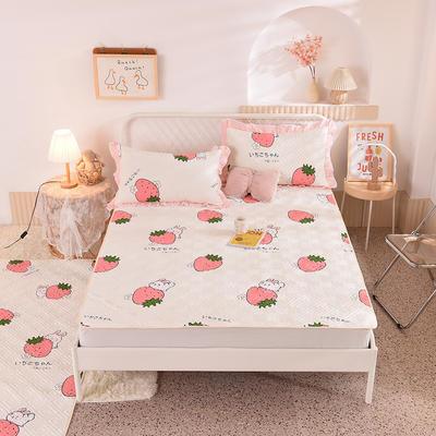 2020新款全棉夹棉床垫-直边款床盖 单件90*200cm直边软席款 草莓兔-米