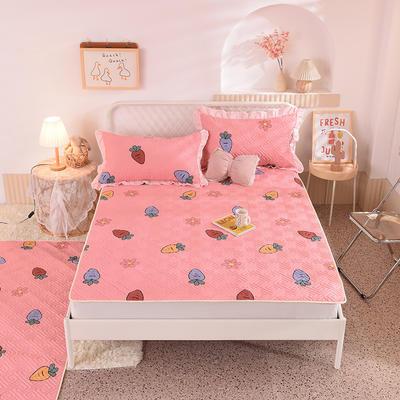 2020新款全棉夹棉床垫-直边款床盖 单件90*200cm直边软席款 迷彩萝卜-粉
