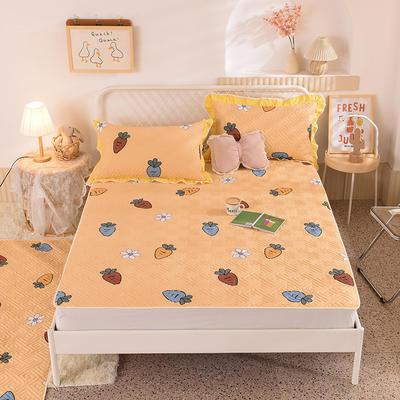 2020新款全棉夹棉床垫-直边款床盖 单件90*200cm直边软席款 迷彩萝卜-黄