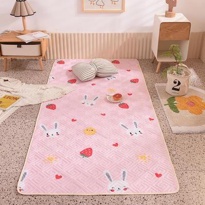 2020新款全棉夹棉防滑地垫 100*200cm(需订做) 草莓兔-粉