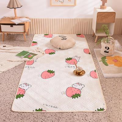 2020新款全棉夹棉防滑地垫 100*200cm(需订做) 草莓兔-米
