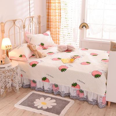 2020新款全棉夹棉防滑榻榻米床护垫 200*250cm单床护垫 草莓兔-米