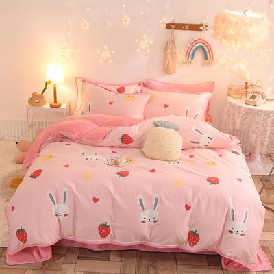 2020新款棉加绒四件套 1.5m床单款四件套 草莓兔粉