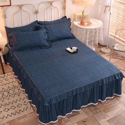2020新款全棉蕾丝小花边单床裙 120*200cm单层床裙 艾伦-蓝