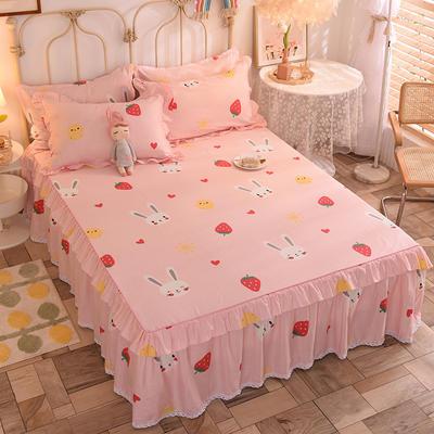 2020新款全棉蕾丝小花边单床裙 120*200cm单层床裙 草莓兔-粉