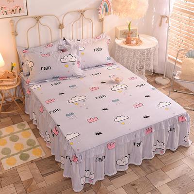 2020新款全棉蕾丝小花边单床裙 120*200cm单层床裙 快乐云朵