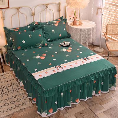 2020新款全棉蕾丝小花边单床裙 120*200cm单层床裙 甜甜草莓