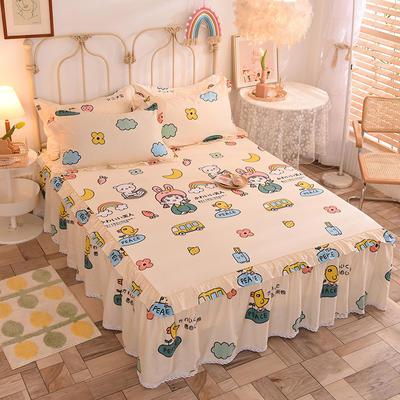 2020新款全棉蕾丝小花边单床裙 120*200cm单层床裙 仙本娜-米