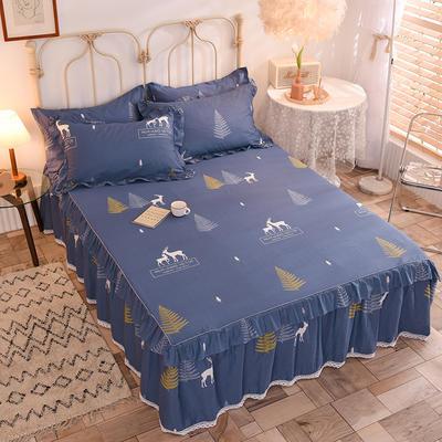 2020新款全棉蕾丝小花边单床裙 120*200cm单层床裙 一鹿繁程-蓝