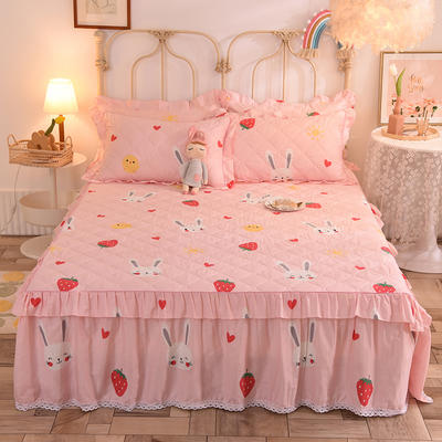 2020新款全棉蕾丝小花边夹棉床裙 120*200cm夹棉床裙 草莓兔-粉