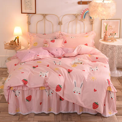 2020新款全棉蕾丝小花边单层床裙四件套 1.2m床裙款四件套 草莓兔-粉