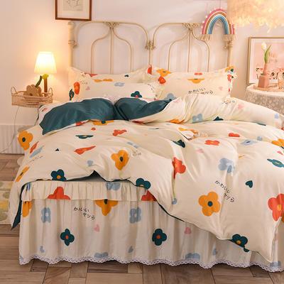 2020新款全棉蕾丝小花边单层床裙四件套 1.5m床裙款四件套 初晨阳光
