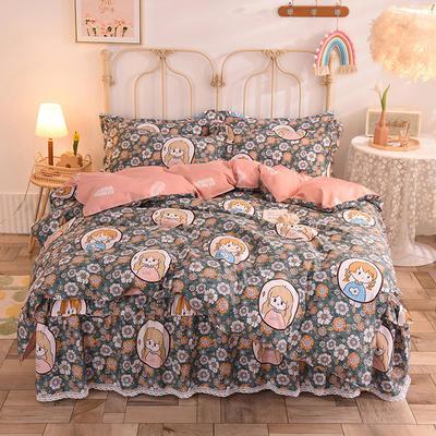 2020新款全棉蕾丝小花边单层床裙四件套 1.5m床裙款四件套 芙丽丝芳