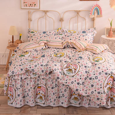 2020新款全棉蕾丝小花边单层床裙四件套 1.2m床裙款四件套 兰菲妮-红