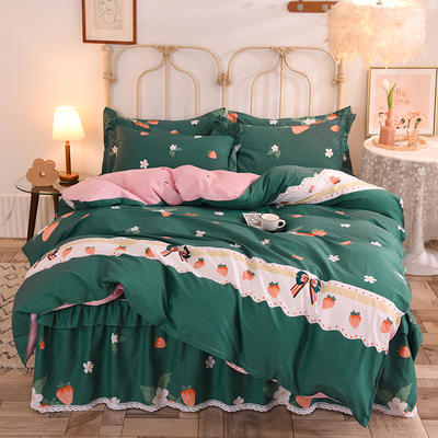 2020新款全棉蕾丝小花边单层床裙四件套 1.5m床裙款四件套 甜甜草莓