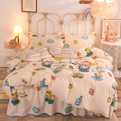 2020新款全棉蕾丝小花边单层床裙四件套 1.5m床裙款四件套 仙本娜-米