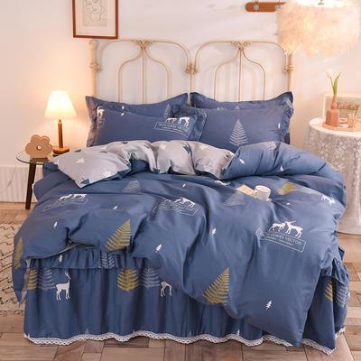 2020新款全棉蕾丝小花边单层床裙四件套 1.5m床裙款四件套 一鹿繁程-蓝