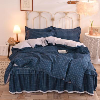 2020新款全棉蕾丝小花边半夹棉床裙四件套 1.2m床裙款四件套 艾伦-蓝