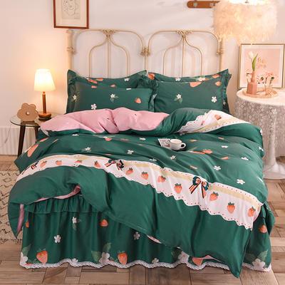 2020新款全棉蕾丝小花边半夹棉床裙四件套 1.5m床裙款四件套 甜甜草莓