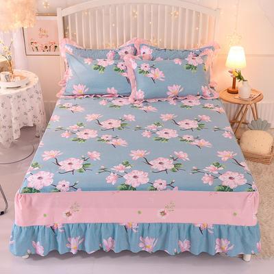 2020新款全棉单床裙 150cmx200cm 满庭芳-蓝