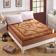 水晶超柔绒压花防静电床笠式床垫 150X200cm 咖啡色