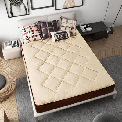 加厚耐压水晶超柔绒压花防静电床垫 90X200cm 驼色