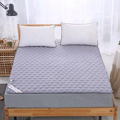 可水洗全棉绗绣夹棉床垫床护垫 90X200cm 灰色